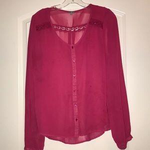 Beautiful Pink Long Sleeve Top, XL, like new